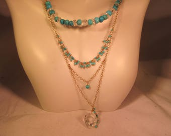 Vintage Deb Guyot Sterling Silver Gold Wash Turquoise Necklace