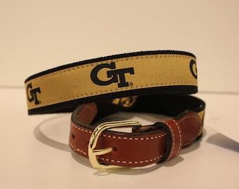 Georgia Tec GT  Men's  Web Leather Belt