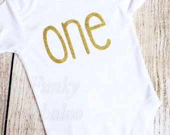 Baby Bodysuit- Gold Glitter -  One - Baby Girl - Baby Girl - Photoshoot, Birthday Gift