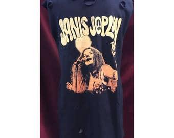 Custom Vintage Distressed Janis Joplin Tshirt