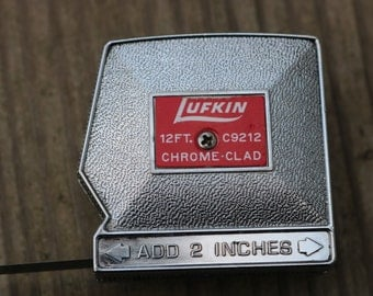 Vintage Lufkin Chrome Clad 12 ft steel tape