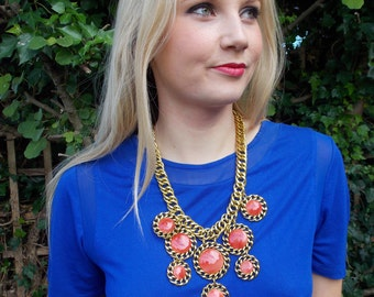 Burnt Orange Stone and Chunky Gold Chain Statement Necklace -UK SELLER