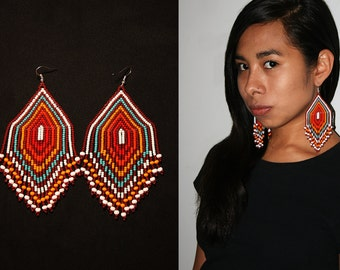 Southwestern Colorful Stripe Earrings, Native American Beaded Earrings, Tribal High Fashion Earrings, Geometric Earrings, Seed Bead Earrings