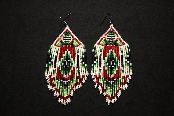 Native American Beaded Earrings, Geometric Tribal Earrings, Aztec Earrings, Pyramid Earrings, Large Dangling Earrings, Statement Earrings