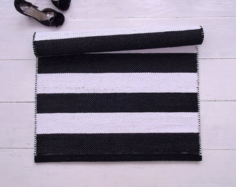 Black White Scandinavian Runner Rug, Striped Cotton Rug, Handmade, Washable, Woven on the Loom, Made to Order