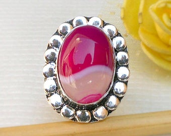 Natural Pink Agate Silver Ring size 7 Pink and white ring Agate Jewelry gift jewelry for her Gift for mom Agate Ring Cabochon Oval Agate