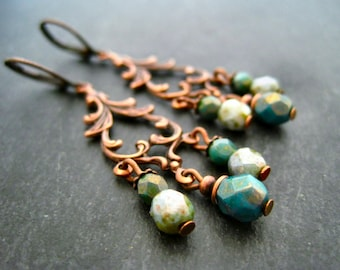 Chandelier earrings copper mint turquoise teal copper dangles czech beads earrings chandelier earrings copper floral