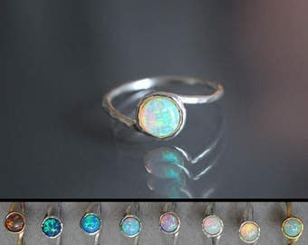 Opal ring. Fire Opal Ring. White Opal Ring. Dainty stack jewelry. Gold opal ring. Promise ring opal. Girlfriend opal ring. Rainbow opal ring
