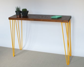 Romy Console Table | Hairpin legs | Industrial | Mid Century Modern Style | Reclaimed Wood | Eco Friendly