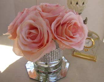 Silk flower arrangement centerpiece- light pink rose in glass vase with faux water