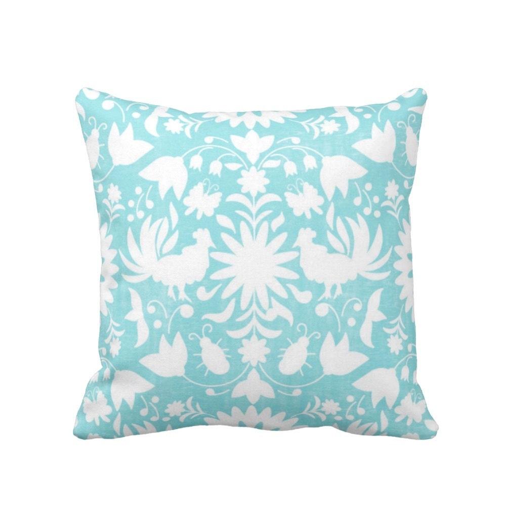 Otomi Throw Pillow, Aqua & White Boho Mexican Animal, Nature Print 16 or 20 Square OUTDOOR or ...