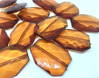 CARAMEL BROWN Faceted 39mm acrylic beads, brown beads, big brown beads, plastic chunky craft supplies for wire bangle or jewelry making