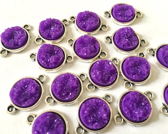 Bright Purple Druzy Beads with 2 Holes, Faux Druzy Connector Beads, purple druzy, druzy bracelet, druzy bangle, purple bracelet, silver