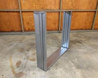 Raw Steel dining table leg set