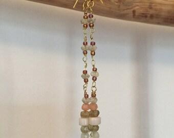 Earrings dangling semiprecious stones