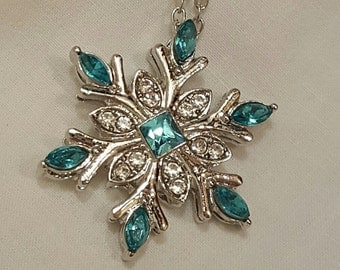 Aqua Blue Snowflake Necklace, Free Shipping
