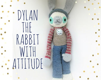 Dylan the rabbit with attitude, an amigurumi cotton doll