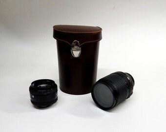 Camera lens Case, Leather Case, Lens Case, Camera Case,  photo Equipment, Photography, Photographic,Round Box,Camera Protection, Storage