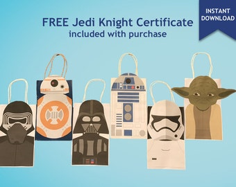 Star Wars R2D2, BB8, Yoda, Stormtrooper, Darth Vader, Kylo Ren Party Favor Bag Printables, Star Wars Party Goodie Bag, Star Wars Party Favor