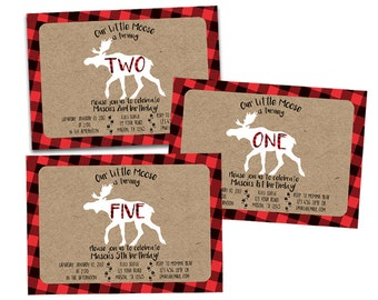Printable Moose Birthday Invitations - Moose Invitation - Little Moose Invite - Kraft Red Buffalo Plaid - Woodland Birthday Rugged Outdoor