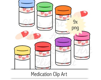 pill bottle clip art - instant download - pills clipart - medicine png - commercial use allowed - sticker clip art - medication refill