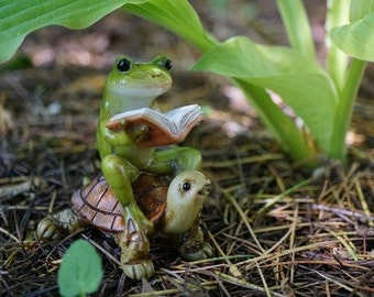 Fairy Garden  - Frog Reading Book on Turtle - Miniature