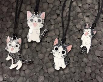 Cute Cartoon Cat Enamel Charm Necklace