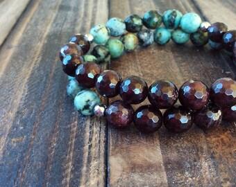 Beaded bracelet set - gemstone beaded bracelet - african turquoise - garnet bracelet - boho bracelet