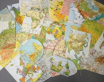 World map - pack assortment of 30 large pieces of different paper- collage - scrapbooking, altered art ...french vintage