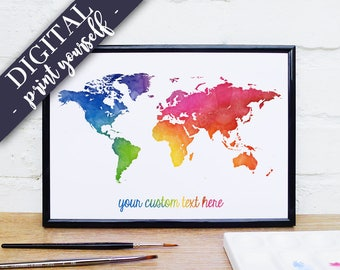 Rainbow world map etsy digital world map rainbow watercolour map custom quote print bright wall art gumiabroncs Choice Image