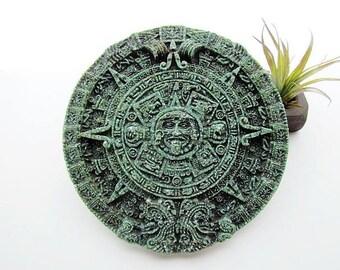 Vintage Aztec Calendar // Mayan Sun Dial // Tribal Sun Dial Wall Decor       #B18