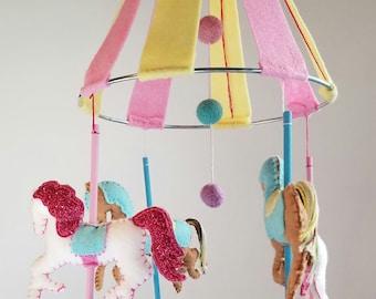 Carousel Baby Mobile, Carousel Nursery Decor, Playroom decor, Carnival Nursery Decor *ready to ship*