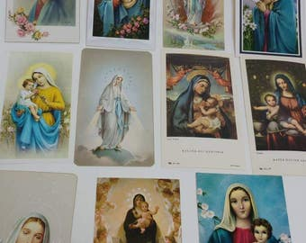 11 vintage Holy Cards Virgin Mary Mother of God