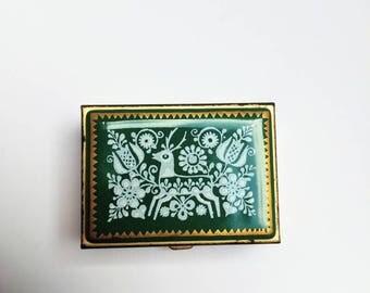 Vintage Michaela Frey pill box sowing kit enamel