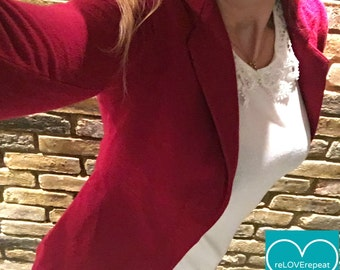 1980's Vintage Armani Blazer | UK 8-10 | Wool & Cashmere Emporio Armani | Stunning Quality | Flattering Red Fitted Jacket