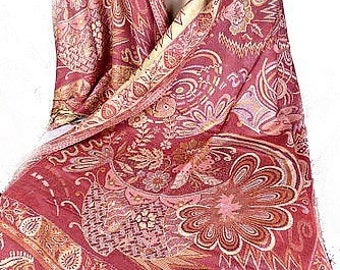 Red Gold PASHMINA SHAWL VISCOSE loose viscose, ethnic shawl, shawl bobo pv111
