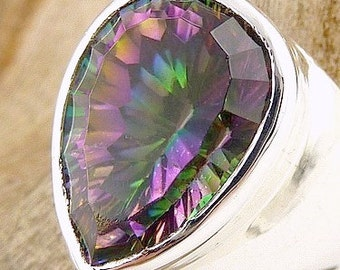RING QUARTZ MYSTIC, Mystic quartz, mystic jewels, t 54 us 7av87.4 quartz jewelry