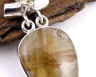 PENDANT QUARTZ Golden RUTILE in quartz, golden rutil quartz jewelry, gem stone pendant natural care minerals qc38