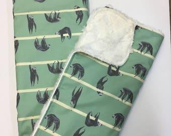Sloth Baby Blanket, Gender Neutral Minky Blanket, Nursery Bedding, Dear Stella Hanging Around Sloth, Aqua and Grey, Natural Minky Cuddle Bac