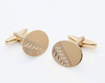 Gold on Solid Silver Oval CUFFLINKS Vintage ca 1970s