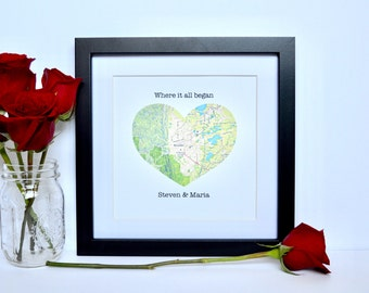 Engagement Gift, Engagement Location Gift, Where it all began map print, Engagement gift for friend, Wedding Gift Ideas, Destination Wedding