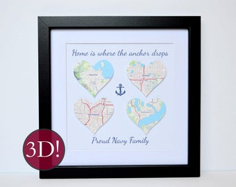 Military Gift- US Navy, Home is where the anchor drops, Military Housewarming Gift, Military Wife, Moving Gift for Military Couple