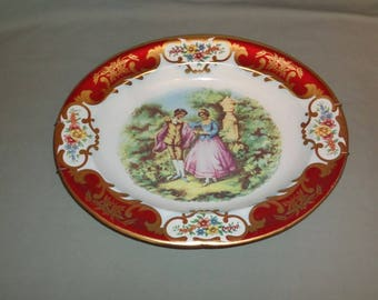 Vintage Daher Victorian Couple Oval Metal Platter | Made in England Daher Decorated Ware Tray Spring Hanger 11101 | Kitchen Wall Art Decor