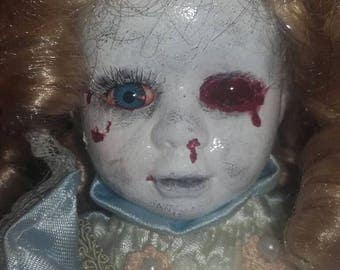 Zombie ooak undead gruesome bloody gory horror art doll scary repaint china porcelian