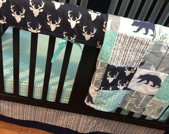 Custom Crib Bedding Set, Made to Order, Navy, mint, gray,modern, aztec, arrows, crib skirt, sheet, baby blanket