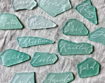 Place Cards, Beach Wedding Decor, Beach Wedding Table Decor, Sea Glass  Place Cards