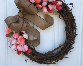 Spring pink tulip grapevine wreath, springtime wreath, shabby chic Easter wreath, Pink and burlap wreath, Mother's Day gift, housewarming