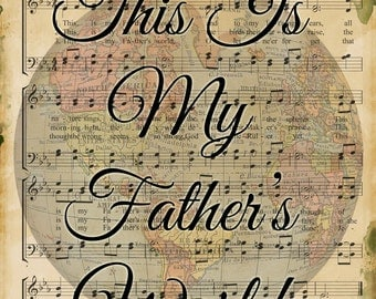 This Is My Father's World - Hymn - Transfer on Canvas - FREE shipping in the US
