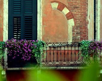 Verona Italy Romantic Balcony Photo, Verona Italy photography, Verona Italy wall art and decor