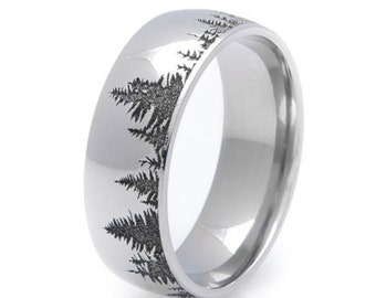 Men's Cobalt Chrome Forest Ring with Laser Carving